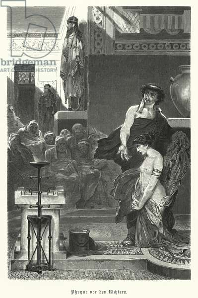 Phryne, Ancient Greek courtesan, on trial for impiety, 4th Century BC (engraving)