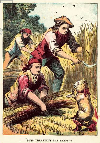 Puss threatens the reapers (coloured engraving)