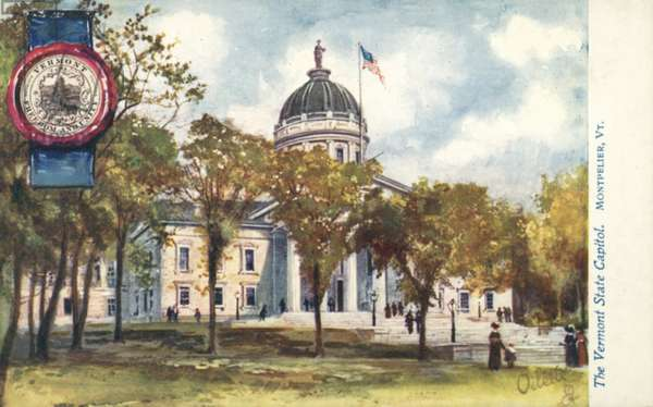 The Vermont State Capitol, Montpelier, Vermont (colour litho)