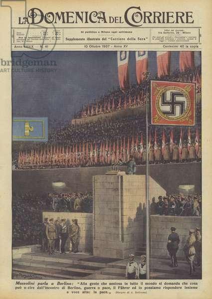 Mussolini parla a Berlino (colour litho)