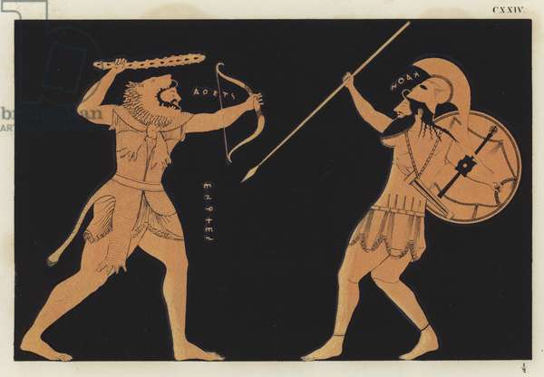 Hercules fighting Ares (colour litho)