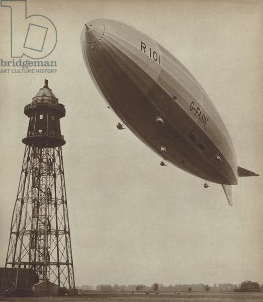 British airship R101, which crashed with the loss of 48 lives on its maiden flight in 1930 (b/w photo)