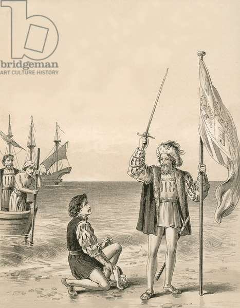 Columbus takes possession of the New World in the name of his sovereign