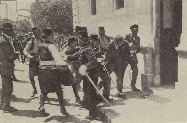 The arrest of Gavrilo Princip after he assassinated Archduke Franz Ferdinand of Austria in Sarajevo, 1914 (b/w photo)