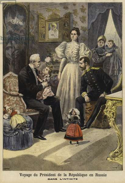 Visit of French President Felix Faure to Russia, 1897 (colour litho)