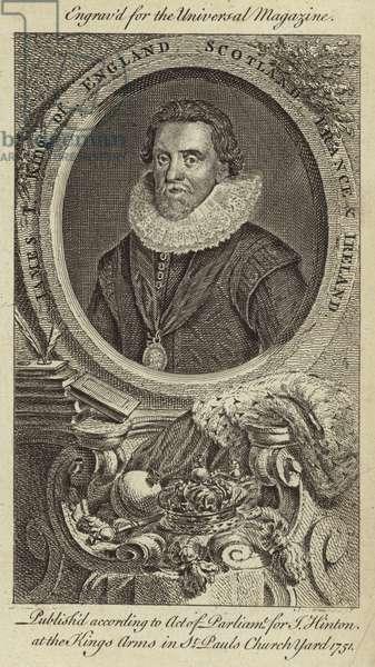 James I, King of England, Scotland, France and Ireland (engraving)