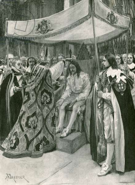 The anointing of Charles I (litho)