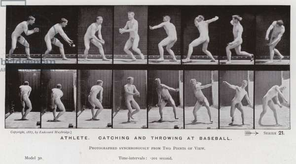 The Human Figure in Motion: Athlete, catching and throwing at baseball (b/w photo)