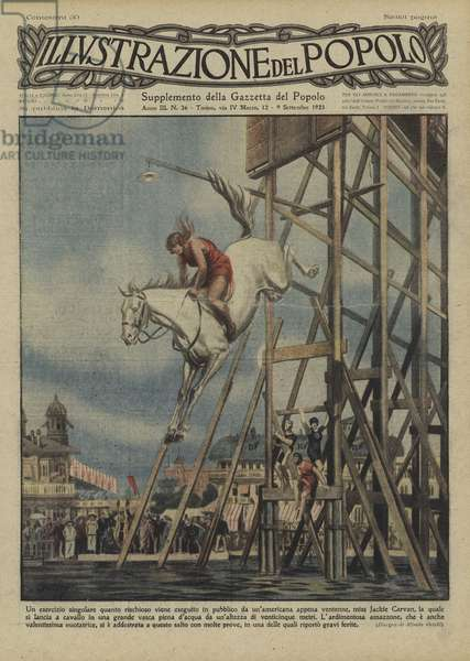 American stuntwoman Jackie Carvan jumping into a tank of water on horseback from a height of 25 metres (colour litho)