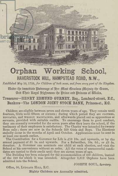 Advertisement for the Orphan Working School, Hampstead, London (engraving)