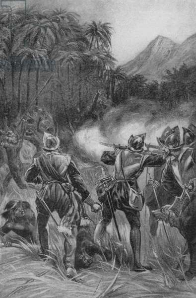 Balboa and his men marching into the wild territories of Central America (litho)