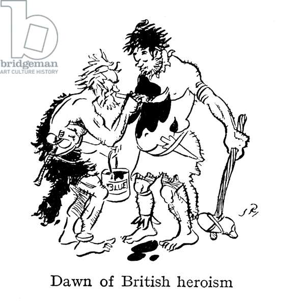 Dawn of British heroism, ancient Britons painting themselves with woad (lithograph)