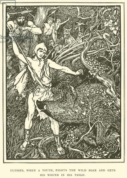 Ulysses, when a Youth, Fights the Wild Boar and gets his Wound in his Thigh (engraving)