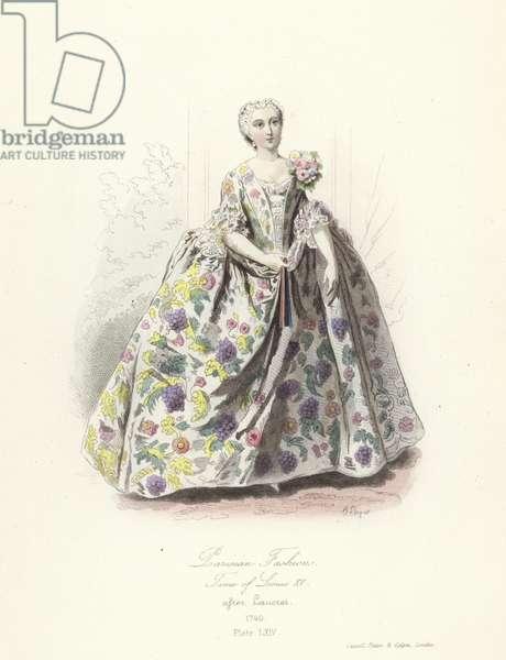 Parisian fashions, time of Louis XV (coloured engraving)