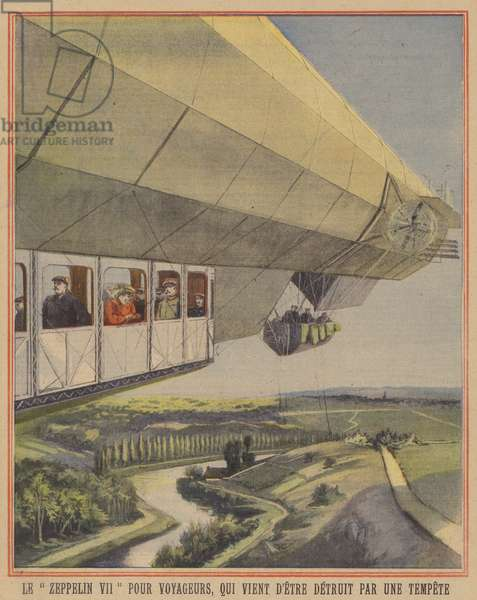 The passenger Zeppelin LZ VII (Deutschland), recently destroyed by a storm (colour litho)