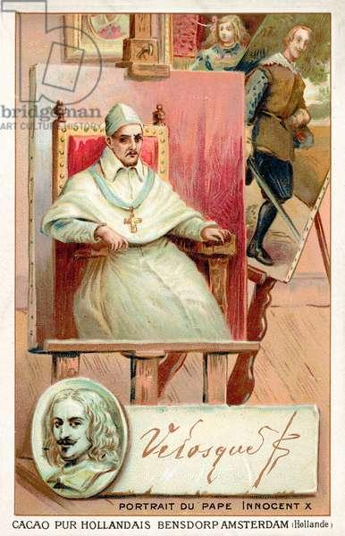 Diego Velasquez, Spanish painter, and portrait of Pope Innocent X (chromolitho)