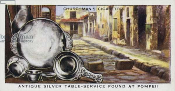Treasure Trove: Antique silver table-service found at Pompeii (colour litho)