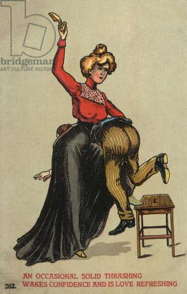 Woman beating her husband with a shoe (colour litho)