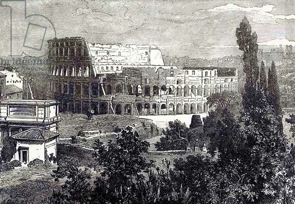 Ruins of the Colosseum, from the Palatine, illustration from 'Cassell's Illustrated Universal History' by Edward Ollier, published 1890 (digitally enhanced image)