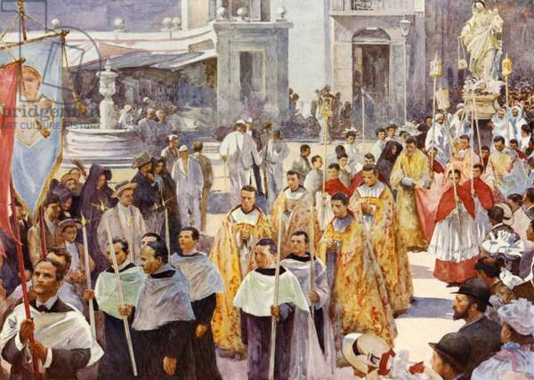 A Roman Catholic procession (colour litho)
