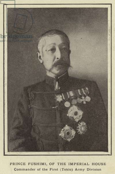 Prince Fushimi, of the Imperial House, Commander of the First (Tokio) Army Division (b/w photo)