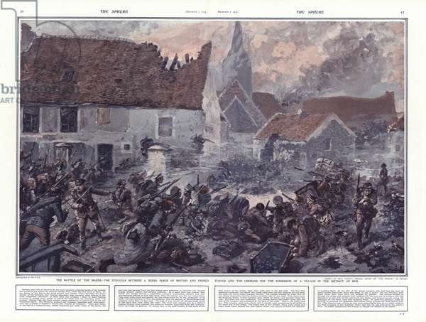 Battle of the Marne, 1914 (colour litho)