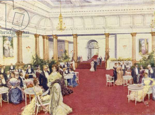 The famous Foyer, Savoy Hotel (colour litho)