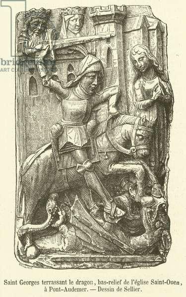 Saint Georges terrassant le dragon, bas-relief de l'eglise Saint-Ouen, a Pont-Audemer (engraving)