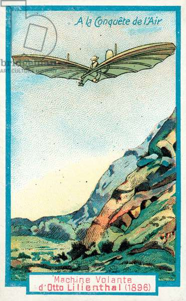 Otto Lilienthal's glider, 1896 (chromolitho)