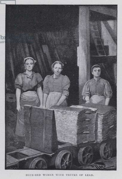 Blue-bed women with trucks of lead (b/w photo)
