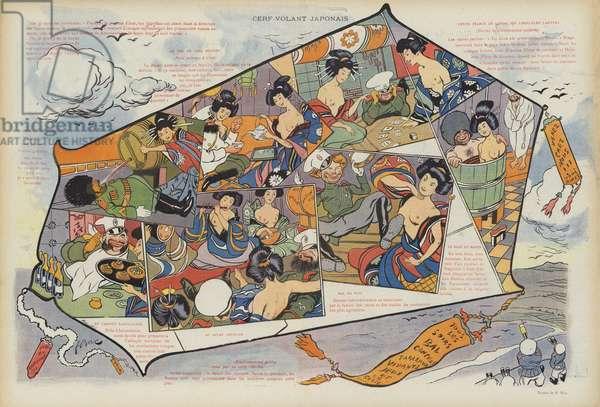 Japanese kite. Illustration for Le Rire (colour litho)