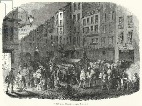 Newspaper market, Rue Montmartre, Paris (engraving)