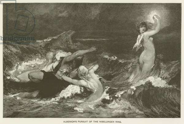 Alberich's pursuit of the Nibelungen Ring (engraving)