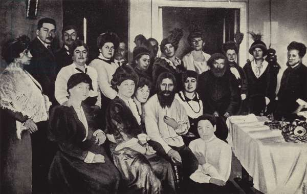 Rasputin Surrounded by Ladies of the Russian Court (b/w photo)