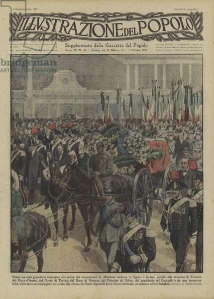 Funeral procession in Rome of General Enrico Tellini and other members of the Italian Mission to Epirus (colour litho)