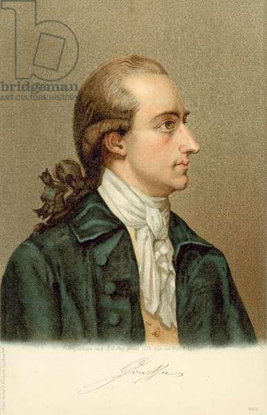 Johann Wolfgang von Goethe, (1749-1832), German writer and statesman. (colour litho)