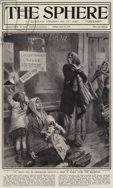 Food shortages in Russia under Bolshevik rule: women queueing for bread outside a Moscow shop, 1919 (litho)