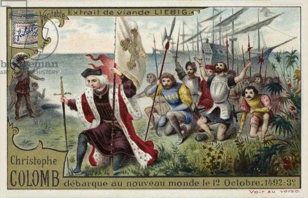 Christopher Columbus disembarks in the New World, 12 October 1492 (chromolitho)