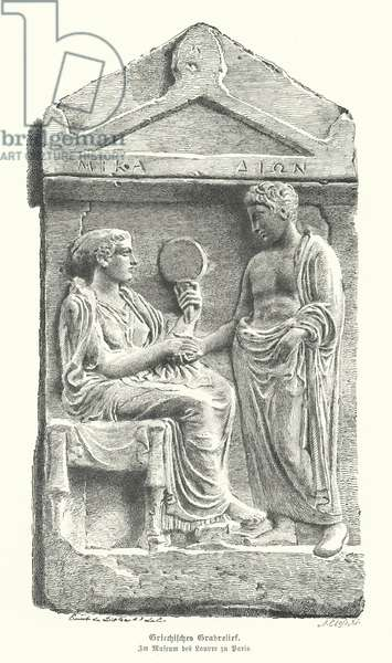 Relief on an Ancient Greek gravestone (engraving)