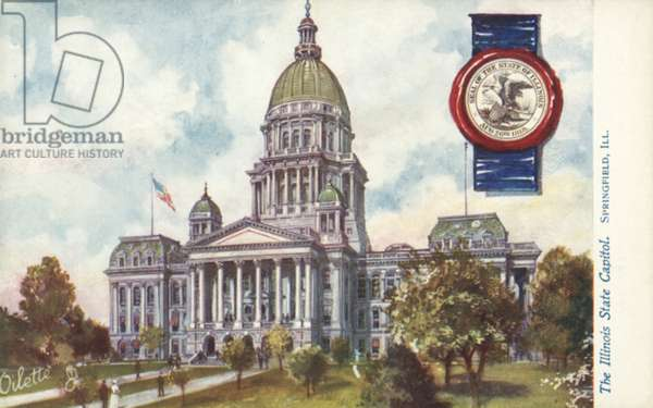 The Illinois State Capitol, Springfield, Illinois (colour litho)