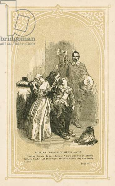 Charles I parting with his family (litho)