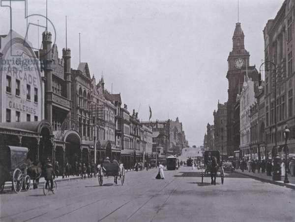 Bourke Street, Melbourne, looking West (b/w photo)