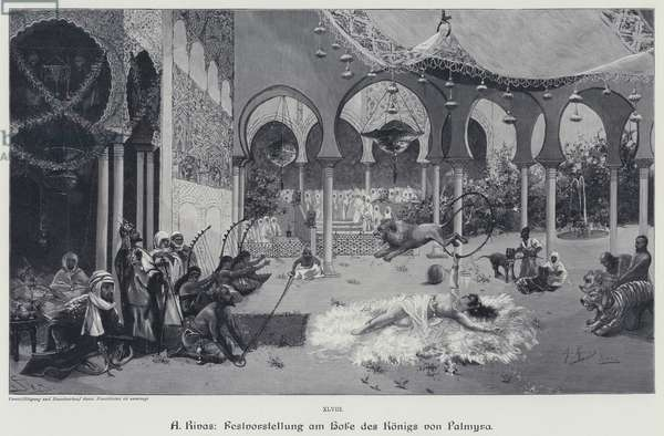 Festival performance at the court of the Kings of Palmyra (engraving)