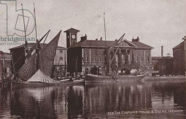 The Customs House and Docks, Ipswich (b/w photo)
