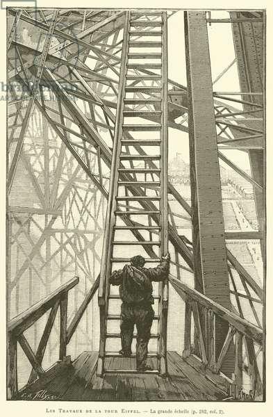 Les Travaux de la tour Eiffel, La grande echelle (engraving)