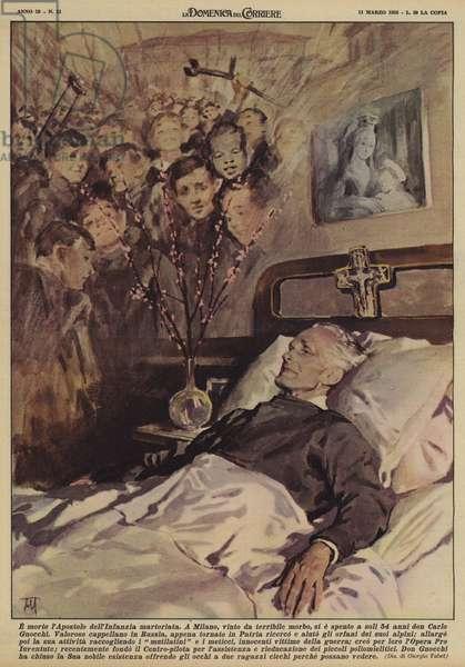 E morto l'Apostolo dell'Infanzia martoriata (colour litho)