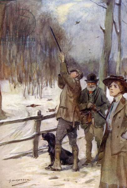 Modern pheasant shooting (colour litho)