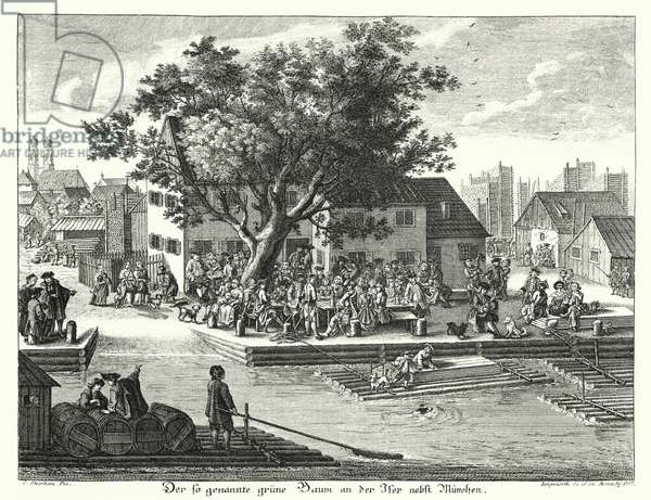 The Gruene Baum (Green Tree) inn near Munich (engraving)