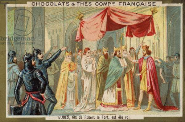 Odo, son of Robert the Strong, is made king of France (chromolitho)