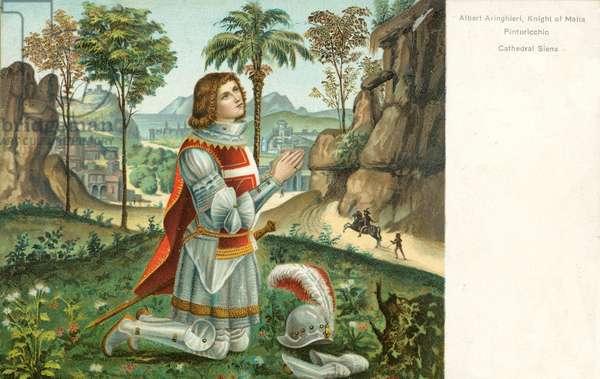 Albert Anringhieri, Knight of Malta, Pinturicchio (colour litho)